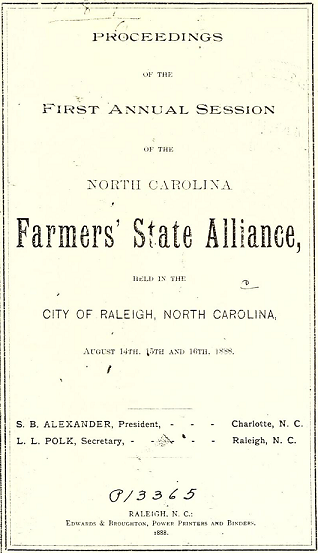 Proceedings of the First Annual Session of the North Carolina Farmers' State Alliance, 1888.