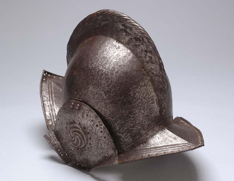 One-piece helmet such as was worn by Spanish explorers during the late 1500's and 1600's