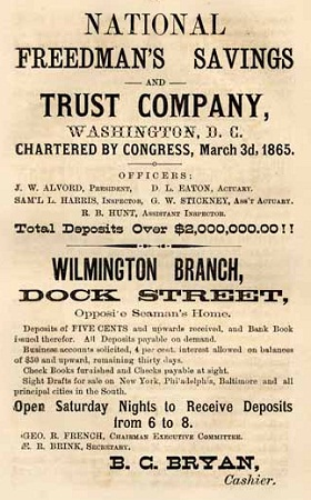 Advertisement for the Freedman's Bank, Haddock, T.M., compiler. Haddock's Wilmington, N. C., Directory, and General Advertiser. Wilmington, N. C.:P. Heinsberger, 1871. From Documenting the American South at the University of North Carolina at Chapel Hill