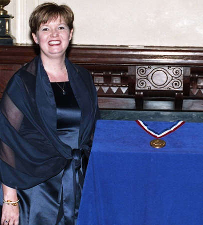Kaye Gibbons receiving the North Carolina Award for Literature in 1998