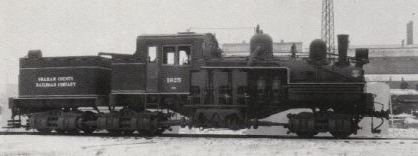 """Brand new Graham County Railroad Company's Shay/ Number 1925 stands outside the Lima Locomotive Works/ factory in Lima, Ohio in February, 1925."" Image available from the North Carolina Historic Sites."