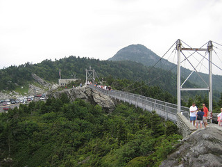 Mile High Swinging Bridge at Grandfather Mountain. Image courtesy of Flickr user Greg Walters.