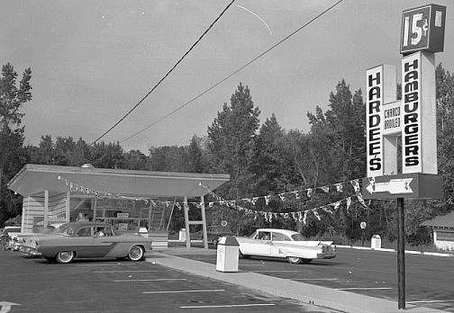 The original Hardee's Hamburgers in Greenville, N.C., 1960. Image from the The Daily Reflector Image Collection at the Joyner Library of East Carolina University.