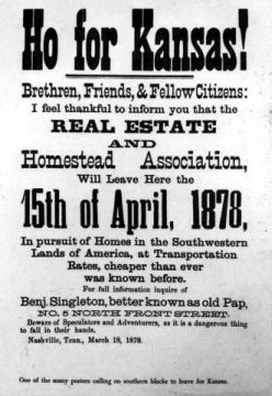 Printed advertisements to attract black settlers from the South to Kansas. Image courtesy of Library of Congress.