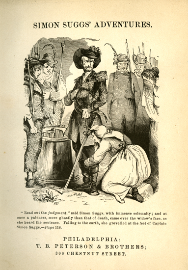 Title page from Johnson Jones Hooper's <i>Simon Suggs' Adventures</i>, published 1881. Illustration by Felix O.C. Darley.  From the collections of the State Library of North Carolina.