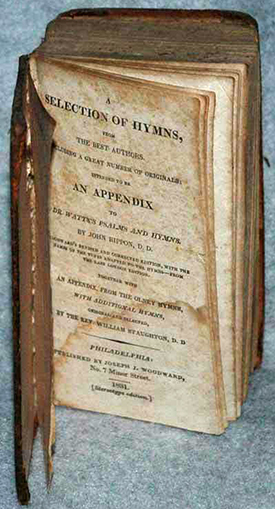 An 1831 hymnal. Image from the North Carolina Historic Sites.