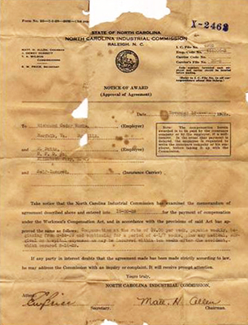 A letter from the North Carolina Industrial Commission notifying a Matthew Butts of his workman's compensation award for an accident at the Richmond Cedar Works, which occurred on August 14, 1929. Image from the North Carolina Museum of History.