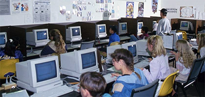 School children learning computers. Image from the North Carolina Digital Collections.