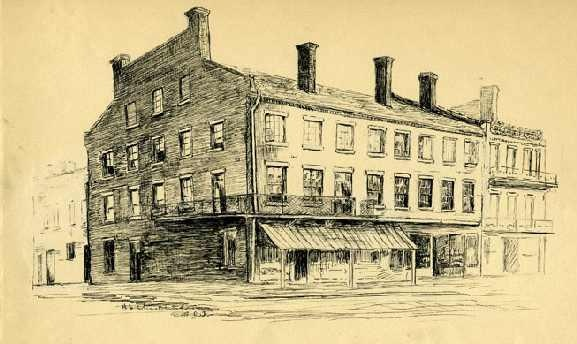 Drawing of Casso's Inn by Hope Summerell Chamberlain for The History Of Wake County North Carolina, Raleigh, N.C.: Edwards & Broughton Printing Company, 1922. Image from the North Carolina Museum of History.