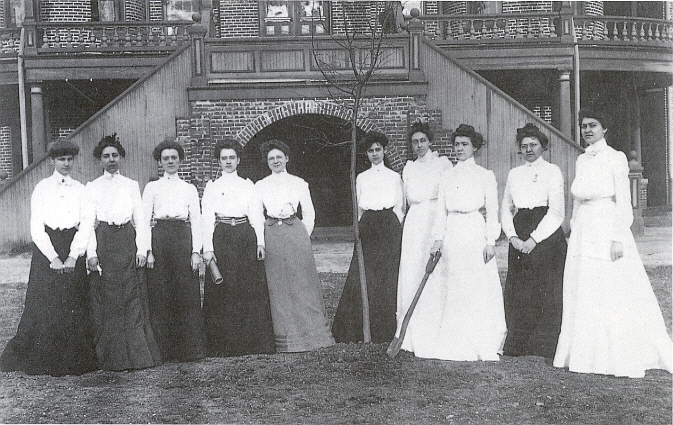 """Immortal Ten Big: The Baptist Female University Class of 1902 are (not pictured in this order): Margery Kesler (M.A.), Mary Estelle Johnson, Elizabeth Parker, Rosa Catherine Paschal, Mary Perry, Margaret Whitmore Shields, Minnie Willis Sutton, Elizabeth Gladys Tull, Eliza Rebecca Wooten, and Sophie Stevens Lanneau."""