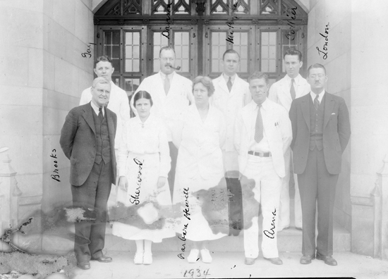 Photograph of Department of Pediatrics House Staff, Duke Hospital, 1934.  Item per00179, Duke University Medical Center Archives. Used by permission from Duke University Medical Center Archives.  Dr. Arthur London is in the front row on the far right.