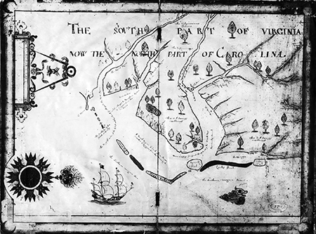 "Nicholas Comberford's 1657 map, ""The South Part of Virginia."" Image from LearnNC.org."