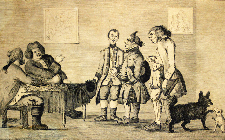 """A Militia Meeting,"" an English print satirizing American militias, 1773. Image from Boston Tea Party Ships & Museum."