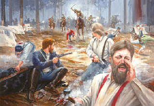 """Dawn attack by Confederates at Monroe's Crossroads."" Image courtesy of the National Park Service."