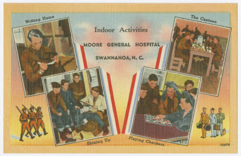 """ Indoor Activities, Moore General Hospital, Swannanoa, N.C."" Image courtesy of the North Carolina Postcard Collection, UNC-Chapel Hill Libraries."