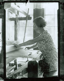 Lucy Morgan weaving, weaving cabin, (1920's-1930's) Penland, North Carolina