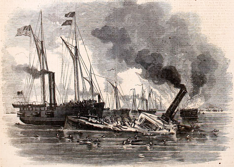 An engraving from Harper's Weekly titled 'The Destruction of Commodore Lynch's Fleet by Union Gunboats,' 1862. Image from Archive.org.