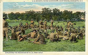 Postcard of the National Guard cantonment at Gamp Greene near Charlotte, 1917. Image from the North Carolina Museum of History.