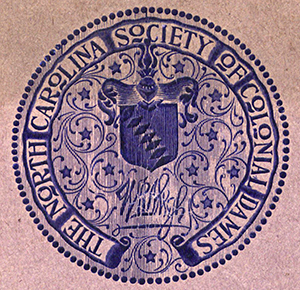 Logo of the North Carolina Society of the Colonial Dames, 1901. Image from the Digital Collections at East Carolina University.
