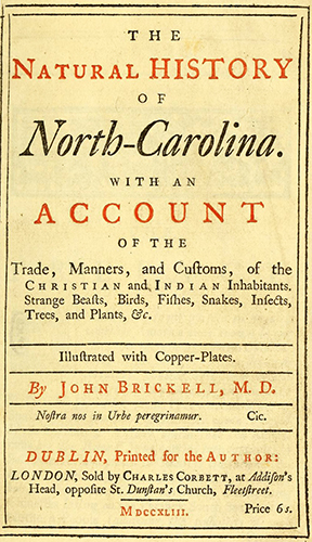 Title page of The Natural History of North-Carolina, 1743. Image from Archive.org.