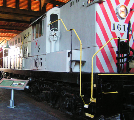 Norfolk Southern Railroad Wheel Road Switcher #1616, built 1955. Image from North Carolina Historic Sites.