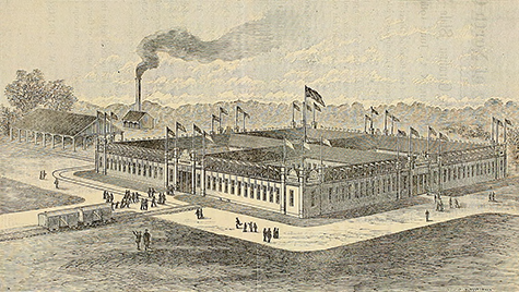 Main building of the North Carolina Exposition of 1884. Image from the North Carolina Digital Collections.
