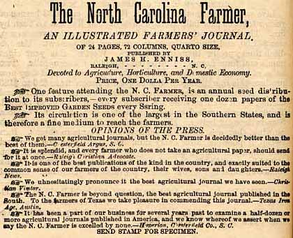 Advertisement for The North Carolina Farmer, 1880. Image from Documenting the American South, University of North Carolina at Chapel Hill.