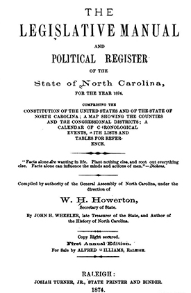 Title page of the first edition of the North Carolina Manual, 1874. Image from Archive.org.
