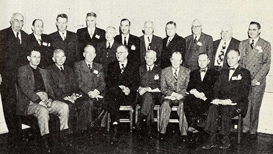 Pictured are 19 of the former presidents of the N. C. Press Association, January 20, 1951. Seated, left to right, are Roy Parker, Ahoskie; Dr. Clarence Poe, Raleigh; R. E. Price, Rutherfordton; Henry Belk, Goldsboro; H. Galt Braxton, Kinston; John B. Harris, Albemarle; L. C. Gifford, Hickory; Talbot Patrick, Goldsboro and Rock Hill, S. C. Standing, left to right, Josh L. Horne, Rocky Mount; Ed M. Anderson, Brevard; Frank A. Daniels, Raleigh; D. Hiden Ramsey, Asheville; Wm. K. Hoyt, Winston-Salem; Lee B. Weathers, Shelby; E. A. Resch, Siler City; W. Curtis Russ, Hendersonville ; F. Grover Britt, Clinton; Harvey F. Laffoon, Elkin; Wm. E. Horner, Sanford.  Image from Archive.org.