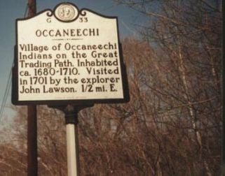 Occaneechi Historical Marker. Courtesy of NC Office of Archives & History, marker ID G-33.