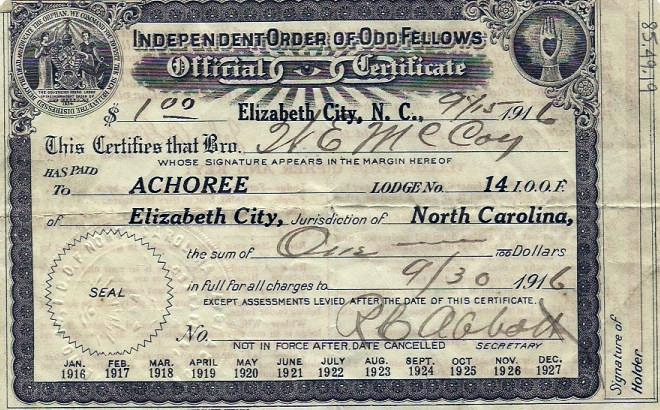 Certificate of Independent Order of Odd Fellows showing membership dues paid by a W. E. McCoy in Elizabeth City, N.C., 1916. Image from the North Carolina Museum of History.