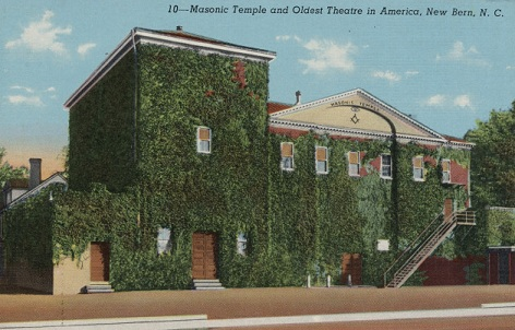 Postcard of the Masonic Temple and Oldest Theatre in America, New Bern, N.C. Image from the North Carolina Collection Photographic Archives, UNC-Chapel Hill.