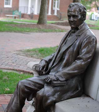 William Peace statue is located on William Peace University's campus. Image from the William Peace University Flickr photo stream.