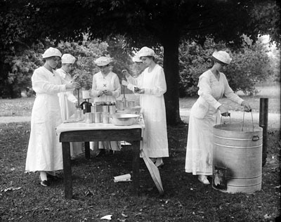 """Home Demonstration of Canning, Mrs. Jane McKimmon, ca. 1908-1917."" Photo by H. H. Brimley."