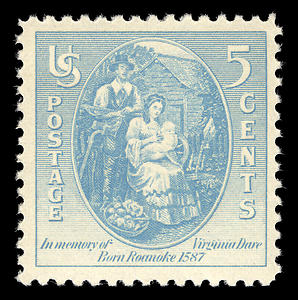 Postage stamp of 1937 honoring Virginia Dare, the first English child born in American colony.