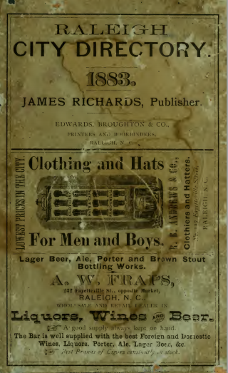 Cover of the 1883 Raleigh City Directory