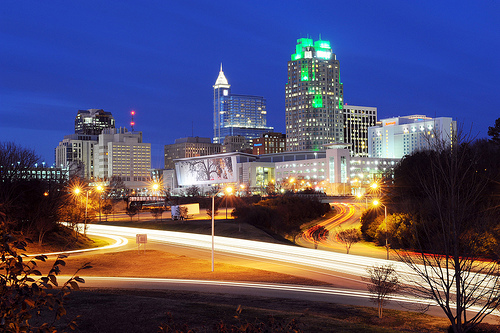 """Downtown Raleigh at night - January 2012."" Raleigh, North Carolina, US, December 29, 2011. Available from: Flickr Commons NCDOT."