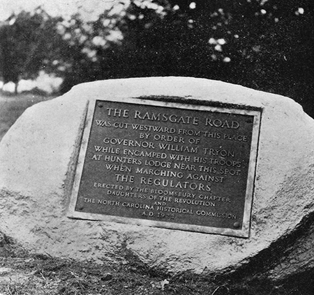 Tablet and boulder commemorating the Ramsgate Road, dedicated May 17, 1924 by the Bllomsbury Chapter of the Daughters of the American Revolution. Image from the North Carolina Booklet.