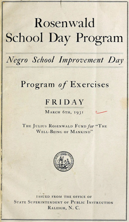 Cover of Rosenwald School Day Program, 1931. Image from Archive.org.