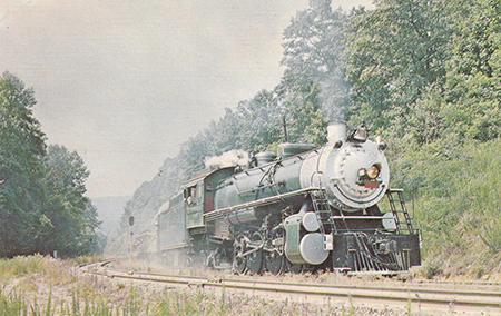 'Southern Railway 2-8-2 4501 assaults Saluda Grade.' Postcard from North Carolina Historic Sites, 1972.