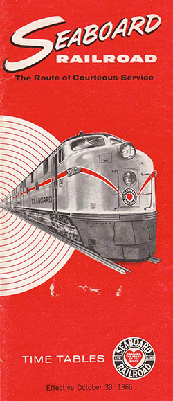Seaboard Air Line Railroad timetable pamphlet, 1966. Image from North Carolina Historic Sites.