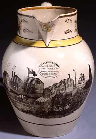 "Pitcher made for ""Governor"" John Wallace, circa 1805-1810, with the inscription ""A North View Of Govr. Wallaces Shell Castle & Harbour North Carolina."" Image from the North Carolina Museum of History."