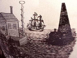 Close-up of part of the pitcher showing a look-out post with foot-holds and a ring at top and a lighthouse built with logs in the harbor. Image from the North Carolina Museum of History.