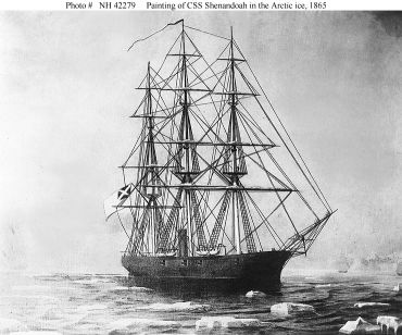 """CSS Shenandoah (1864-1865). Painting depicting the Confederate cruiser in the Arctic ice, circa June 1865. This image has been credited to the ""Illustrated London News"", though it appears to be a painting on canvas and not a line engraving.  U.S. Naval Historical Center Photograph."" Image Courtesy of Naval Historical Center."