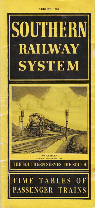 Southern Railway System timetable pamphlet, 1939. Image from North Carolina Historic Sites.