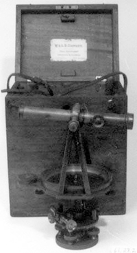 A theolodite, or transit, a common surveyors' tool; circa 1850-1890. Image from the North Carolina Museum of History.