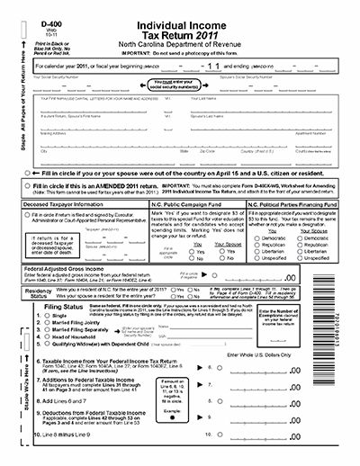 Page one of form D-400, the Individual Income Tax Return for the state of North Carolina, 2011. Image from the North Carolina Department of Revenue.