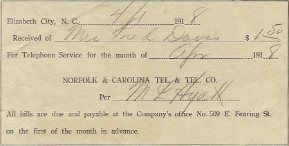 Telephone bill from the Norfolk and Carolina Telephone and Telegraph Company from 1918.
