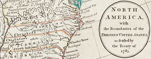 Map from the 1780s showing Tennessee as still part of North Carolina. Image from the North Carolina Maps project.