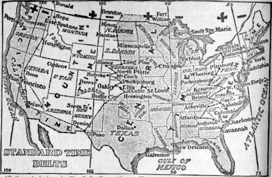 Time Zone map of the United States from 1913. Image from the Wikipedia.